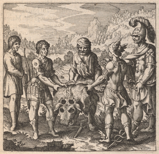 A man wearing a turban is holding an ox hide. To his left stands one man in early modern clothing and another in classical clothing with a bow and arrow. To his right stands a man in classical clothing, understood as Hermes, and a man in classical clothing with a helmet and plume.