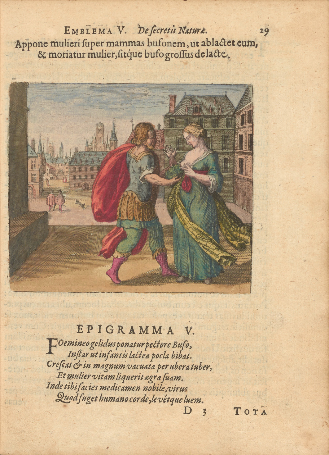 The second page of emblem 5 from Atalanta fugiens shows a motto and epigram in Latin and an image. In the image, a bearded man in classical clothing is foisting a toad towards a woman's breast to nurse. In the background of the courtyard, two men and a dog are walking away.