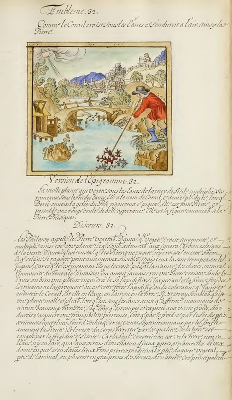 A manuscript page from a French translation of Maier's text contains a hand-painted emblem of a man trawling for coral with a hook in a bog.