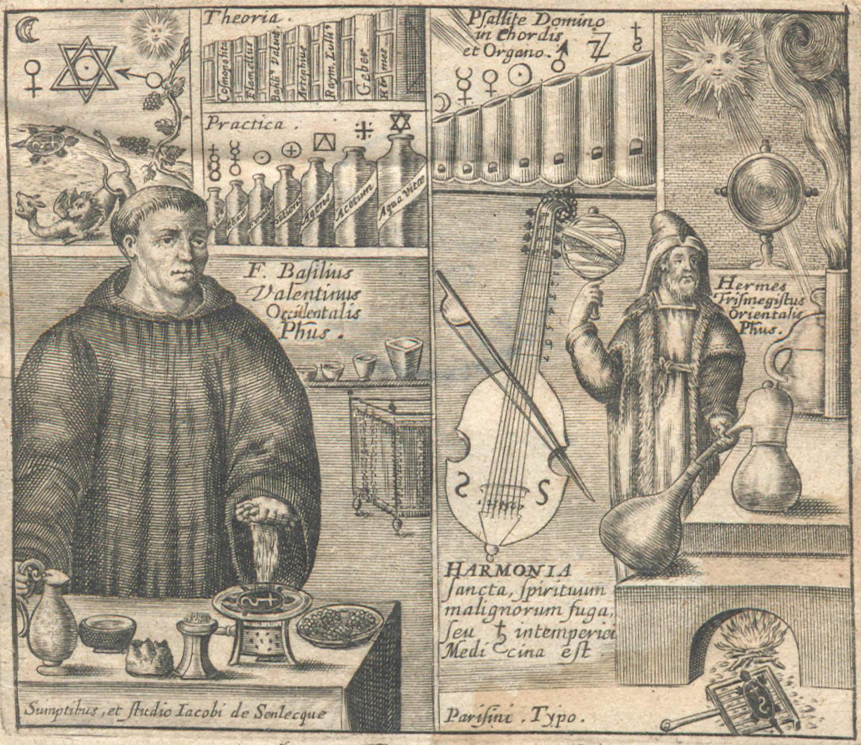 The frontispiece for Revelation des mysteres (Revelation of Mysteries) depicts a split image. On the left-hand side: a robed figure presides over various materials; in the background there are numerous vessels, books, symbols, and a small vignette of mythical creatures. On the right-hand side: A heavily cloaked man in a hat is surrounded by various instruments and experiments in progress.