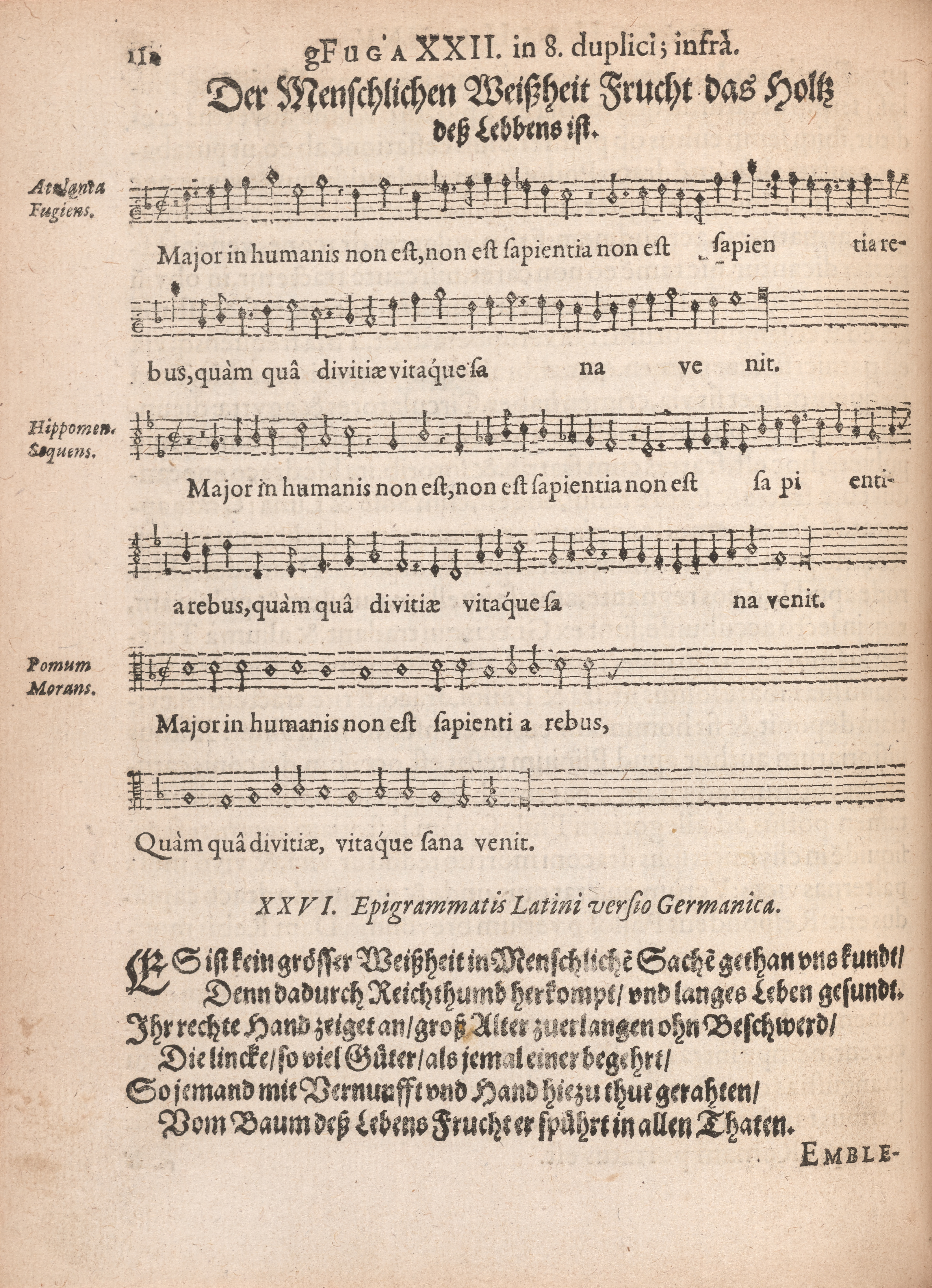 Manuscript page from Emblem 26 of Atalanta fugiens featuring musical notation and a German motto and epigram.