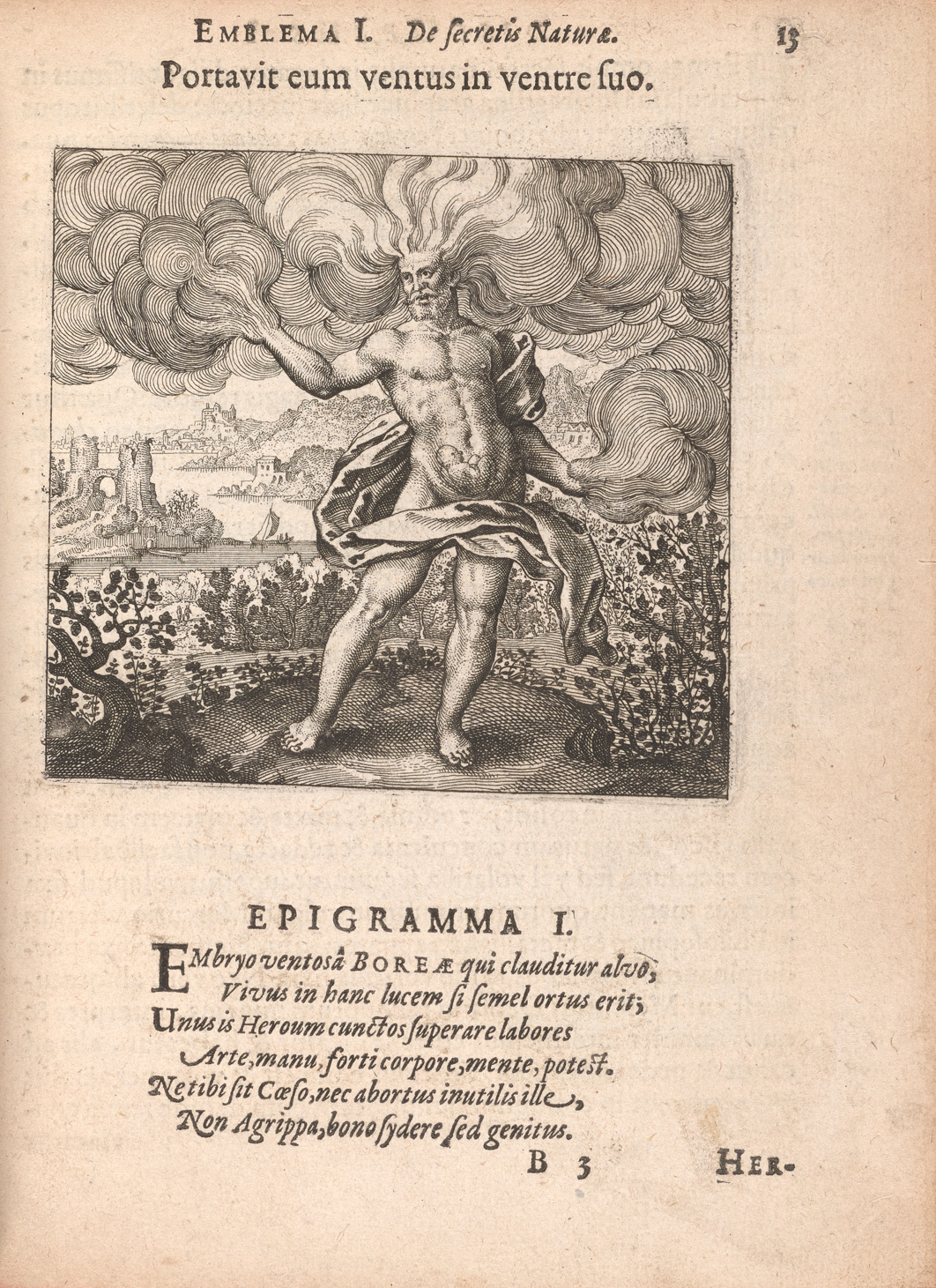 A page from Atalanta fugiens presents Emblem 1 and its epigram. In the emblem, a bearded nude man, identified as Boreas, with wind gusts extending from his head and arms, has a fetus inside his stomach. He is standing amongst bushes with a river and cityscape in the background.