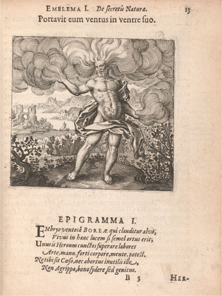 The second page of emblem 1, which shows a motto and epigram in Latin and an image. In the image, a bearded nude man, identified as Boreas, with wind gusts extending from his head and arms, has a fetus inside his stomach. He is standing amongst bushes with a river and cityscape in the background.