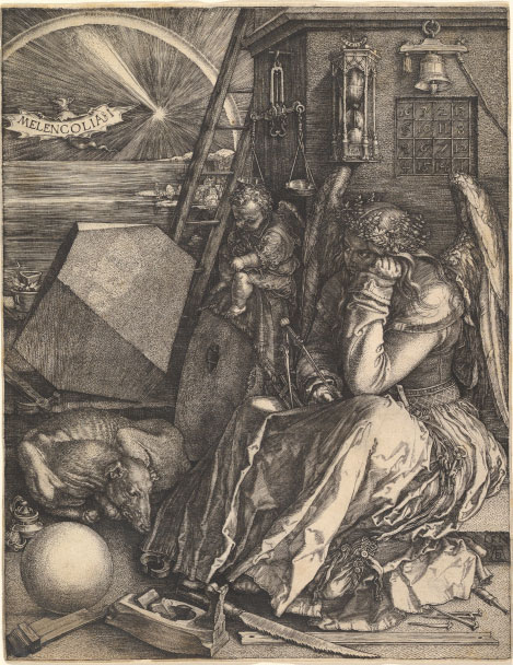 An etching depicts an angel hunched over in a crowded workspace with a bovine animal at her feet and a cherub over her shoulder. In the distance is a burst of light with the word Melencolia I.